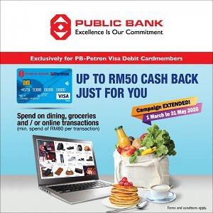 Up to RM50 Cash Back for PB-Petron Visa Debit Cardholders