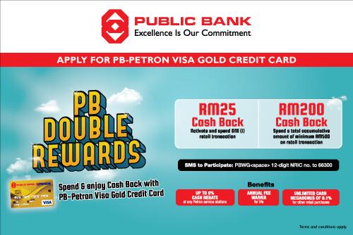 Double Rewards with PB-Petron Visa Gold Credit Card