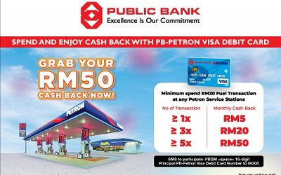 Grab RM50 Cashback with PB-Petron Visa Debit Card