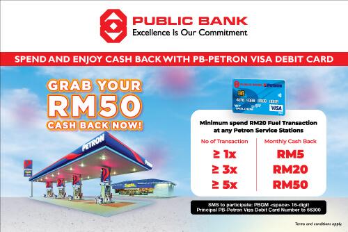 Grab RM50 Cashback with PB-Petron Visa Debit Card