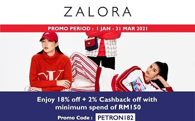 18% OFF + 2%  CASHBACK OFF WITH A MINIMUM SPEND OF RM150
